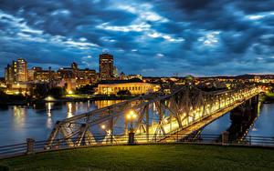 Bilder Kanada Fluss Brücke Gebäude Abend Ottawa River, Alexandra Bridge Städte