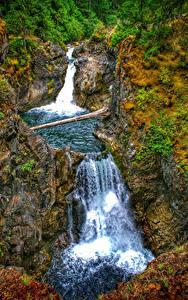 Hintergrundbilder Kanada Wasserfall Park Felsen Little Qualicum Falls Provincial Park Vancouver Island Natur