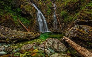 Fotos Kanada Wasserfall Steine Vancouver Felsen Laubmoose HDR Nahmint Wilderness