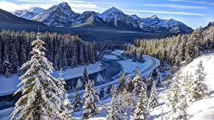 Fotos Kanada Winter Berg Wälder Park Landschaftsfotografie Banff Schnee Alberta