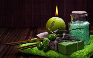 Image Candles Towel Olive Soap Spa Salt
