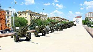 Fotos Kanone Panzer Russland Wolgograd Russische Museum 57mm ZIS-2, 76mm ZIS-3, 85mm D-44, 152mm Howitzer, 85mm 52-K, 152mm D-1, 122mm  M-30, 203 mm B-4, BA-64B, T-26, T-60, BA-20M, BM-13 Heer