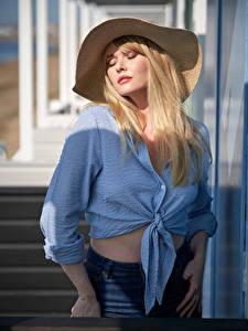 Wallpapers Carla Monaco Blonde girl Hat Formal shirt Girls
