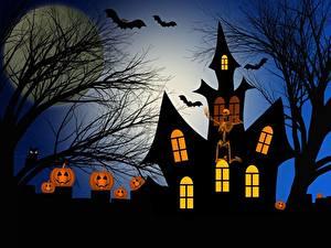 Bilder Burg Halloween (2007) Kürbisse Silhouette Ast