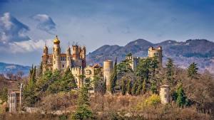 Image Castles Italy Trees rocchetta mattei castle, Grizzana Morandi Cities