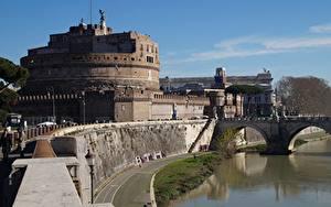 Hintergrundbilder Burg Rom Italien Flusse Brücken Denkmal Museum Castel Sant'angelo, Adriano Park, Tiber river