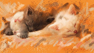 Wallpapers Cat Painting Art Kittens 2 Animals