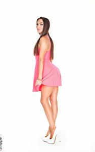 Fotos Celeste Star iStripper Weißer hintergrund Braunhaarige Hand Kleid Bein junge Frauen