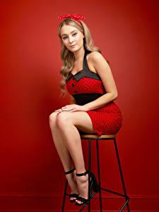 Bilder Stühle Sitzt Bein Kleid Starren Schleife Roter Hintergrund
