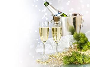 Papéis de parede Vinho espumante Feriados Ano-Novo Copo de vinho Alimentos