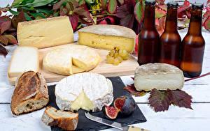 Bilder Käse Brot Echte Feige Weintraube Flasche