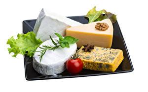 Bilder Käse Schalenobst Gemüse Tomate Weißer hintergrund