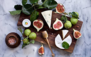 Photo Cheese Pears Ficus carica Cutting board Food