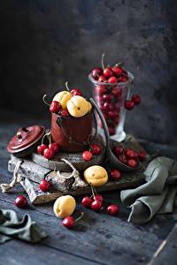 Fotos Kirsche Aprikose Stillleben Bretter Eimer