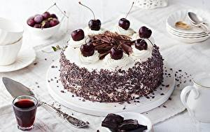 Bilder Kirsche Torte Schokolade Lebensmittel