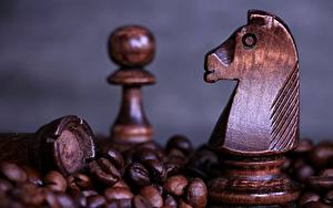 Pictures Chess Closeup Coffee From wood Grain