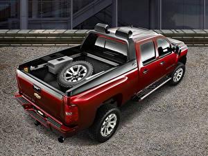 Hintergrundbilder Chevrolet Rot Metallisch Pick-up Von oben Silverado HD Z71 Crew Cab Concept, 2007 Autos