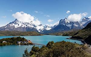 Fotos Chile See Gebirge Park Wolke Torres del Paine National Park