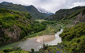 Bilder Chile Berg Flusse Wolke Felsen Patagonia