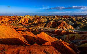 Sfondi desktop Cina Montagne Parco Falesia Danxia Landform Geopark Natura