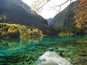 Hintergrundbilder China Parks Berg Wald Herbst See Jiuzhaigou park Sichuan Natur