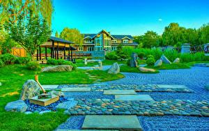 Fotos China Parks Stein HDR Design Rasen Strauch Beijing Zen Garden Natur