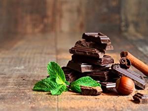 Fotos Schokolade Schalenobst Großansicht Minzen Lebensmittel