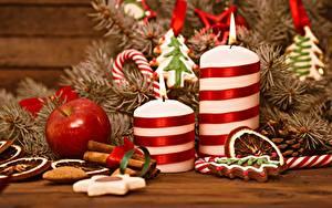 Bilder Neujahr Äpfel Kerzen Flamme Ast