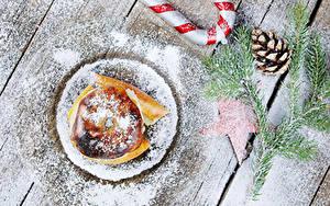 Fotos Neujahr Äpfel Puderzucker Bretter Ast Zapfen Bratapfel Lebensmittel