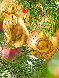 Fotos Neujahr Kugeln Geschenke Ast