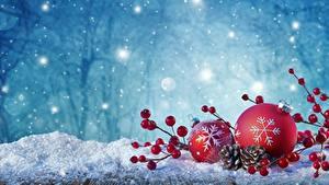 Hintergrundbilder Neujahr Kugeln Schnee Schneeflocken
