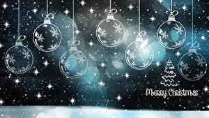 Desktop wallpapers Christmas Balls Snowflakes Text English