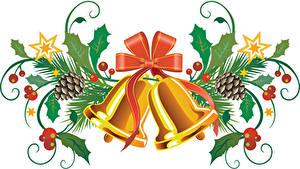 Hintergrundbilder Neujahr Beere Glocke Schleife Zapfen Blattwerk