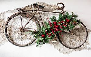 Hintergrundbilder Neujahr Beere Fahrräder Design Ast Kugeln