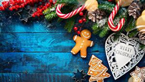Bilder Neujahr Beere Kekse Ast Englische Christbaum Herz das Essen