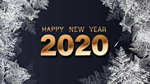 Hintergrundbilder Neujahr Schwarzer Hintergrund Englischer 2020 Schneeflocken Text