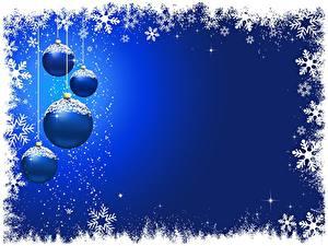 Fotos Neujahr Blau Schneeflocken Kugeln Vorlage Grußkarte