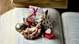 Fotos Neujahr Buch Kleine Sterne Kugeln Geschenke