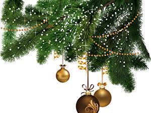 Wallpapers Christmas Branches Balls Ribbon