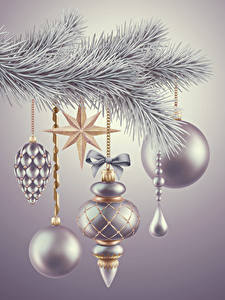 Images Christmas Branches Balls Silver color