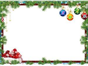 Fotos Neujahr Ast Kugeln Schneeflocken Geschenke Vorlage Grußkarte 2020