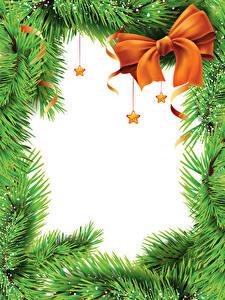 Hintergrundbilder Neujahr Ast Schleife Kleine Sterne Vorlage Grußkarte
