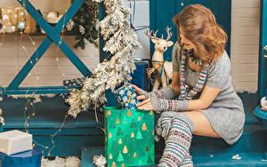 Hintergrundbilder Neujahr Braunhaarige Sitzen Geschenke Kleid Lichterkette Schal Ast junge frau