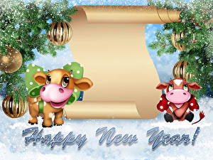 Picture New year Bulls Branches Balls Snow Word - Lettering English