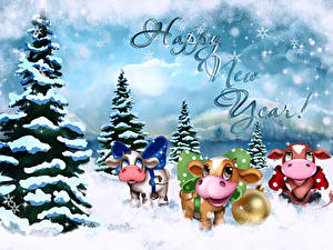 Images Christmas Bull Cows Spruce Snow Balls Lettering English