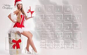 Hintergrundbilder Neujahr Kalender Sitzend Englisch Geschenke Schleife Mütze Bein High Heels Uniform Mädchens
