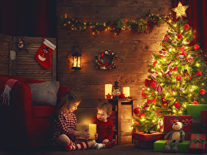 Desktop wallpapers New year Candles Christmas tree Balls Fairy lights Present Little girls Boys 2 Children