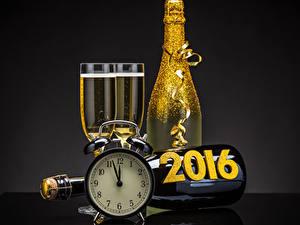 Papéis de parede Ano-Novo Vinho espumante Relógio Feriados Copo de vinho 2016 Alimentos