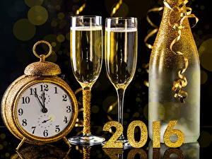 Papéis de parede Ano-Novo Champanhe Relógio Feriados Despertador Copo de vinho Garrafa 2016 Alimentos