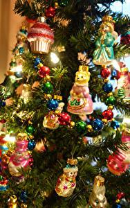 Hintergrundbilder Neujahr Tannenbaum Kugeln